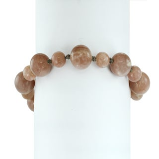 Michael Valitutti Palladium Silver Chocolate Moonstone Beaded Toggle Bracelet