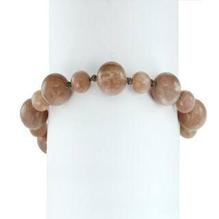 Michael Valitutti Palladium Silver Chocolate Moonstone Beaded Toggle Bracelet