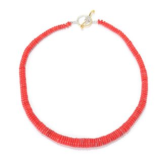 Michael Valitutti Palladium Silver Red Coral Toggle Necklace