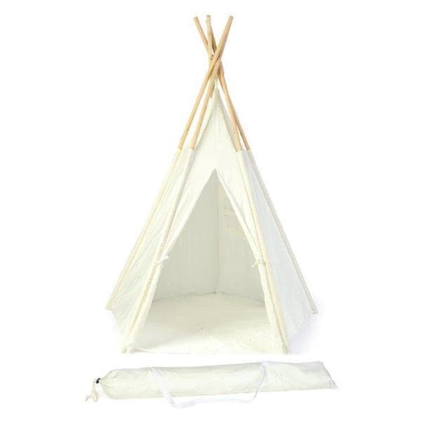 Trademark Innovations Customizable White Canvas 5-foot Teepee With Carry Case