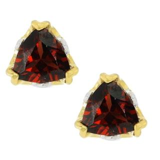 Michael Valitutti Palladium Silver Trillion Mozambique Garnet Stud Earrings