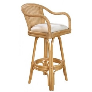 Key West Indoor Swivel Natural FInish Rattan and Wicker 30-inch Bar Stool With Cushion