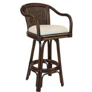 Key West Indoor Swivel Antique Finish Rattan and Wicker 30-inch Bar Stool With Cushion