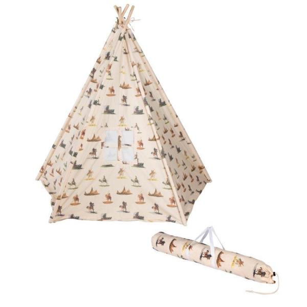 Trademark Innovations Cowboy Print Canvas 6-foot Teepee with Carry Case