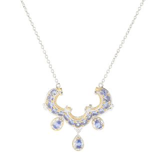 Michael Valitutti Palladium Silver Round and Pearshaped Tanzanite Necklace