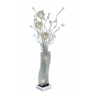 Urban Designs Silver Beaded Crystal Floral Display LED Floor Lamp