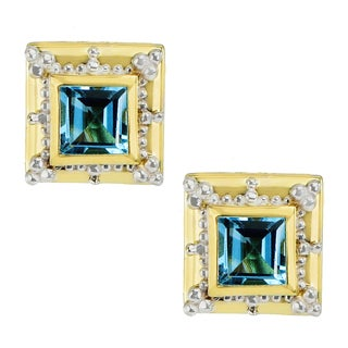 Michael Valitutti Palladium Silver Etruscan Collection Princess Cut Gemstone Stud Earrings