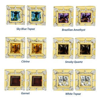 Michael Valitutti Palladium Silver Etruscan Collection Princess Cut Gemstone Stud Earrings (5 options available)