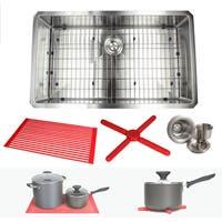 Ariel 32-inch Stainless Steel Single Bowl 15mm Radius Undermount Kitchen Sink with Accessories