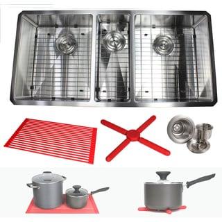 Ariel 42-inch Stainless Steel Triple Bowl 15mm Radius Undermount Kitchen Sink with Accessories