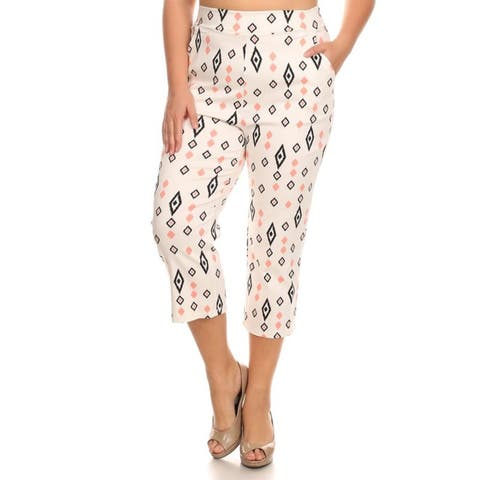 Women's Polyester and Spandex Plus Size Abstract Pattern Cropped Pants