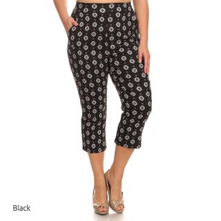 Women's Polyester and Spandex Plus Size Abstract Pattern Cropped Pants (More options available)