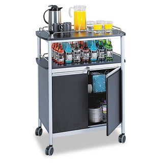 Safco Mobile Beverage Cart, 33-1/2w x 21-3/4d x 43h, Black