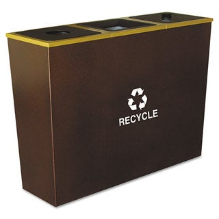 Ex-Cell Metro Collection Recycling Receptacle, Triple Stream, Steel, 54gal, Brown