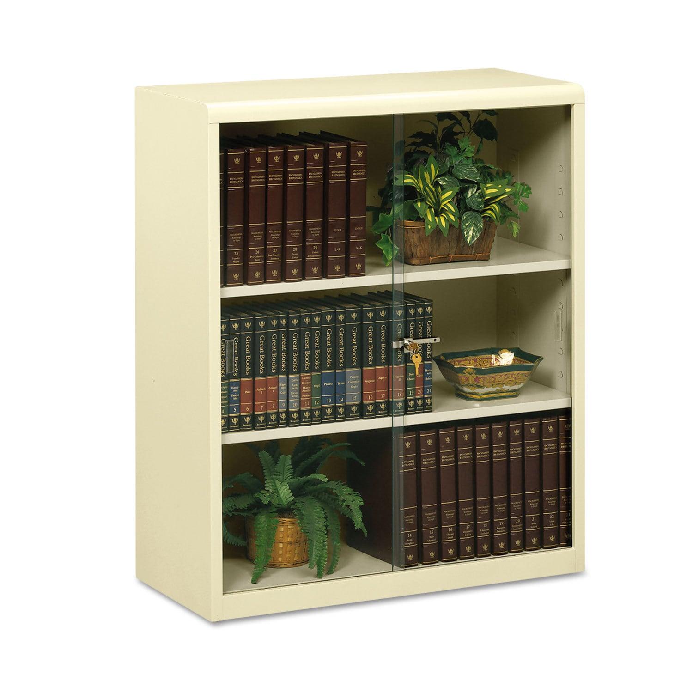 Tennsco Executive Steel Bookcase With Glass Doors, Three-...