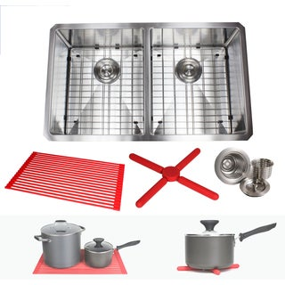 Ariel 32-inch Stainless Steel Double Bowl 15mm Radius Undermount Kitchen Sink with Accessories