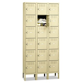 Tennsco Box Compartments with Legs, Triple Stack, 36w x 18d x 78h, Sand