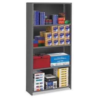 Tennsco Closed Commercial Steel Shelving, Five-Shelf, 36w x 12d x 75h, Medium Grey