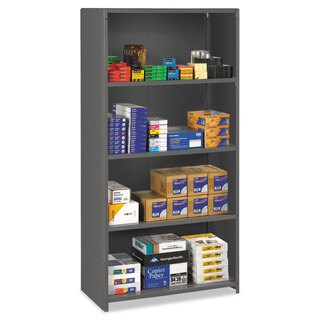 Tennsco Closed Commercial Steel Shelving, Five-Shelf, 36w x 24d x 75h, Medium Grey