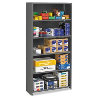 Tennsco Closed Commercial Steel Shelving, Six-Shelf, 36w x 12d x 75h, Medium Grey