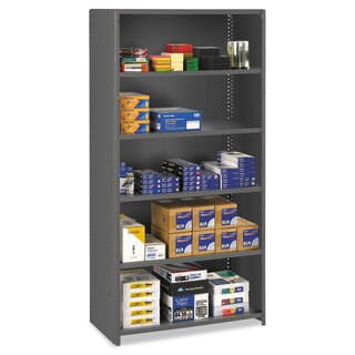 Tennsco Closed Commercial Steel Shelving, Six-Shelf, 36w x 18d x 75h, Medium Grey
