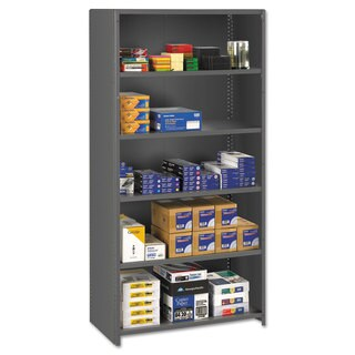 Tennsco Closed Commercial Steel Shelving, Six-Shelf, 36w x 24d x 75h, Medium Grey