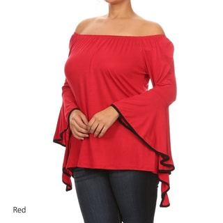 Women's Solid Plus-size Ruffled-sleeve Top