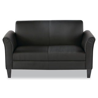 Alera Reception Lounge Furniture, 2-Cushion Loveseat, 55-1/2w x 31-1/2d x 32h, Black