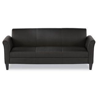 Alera Reception Lounge Furniture, 3-Cushion Sofa, Black - 77 x 31.5 x 32