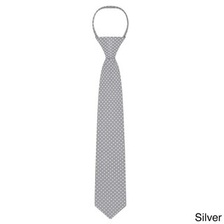 Jacob Alexander Boys' Microfiber 14-inch Polka-dot Zipper Tie