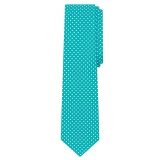 Jacob Alexander Men's Blue Satin Microfiber Polka-dot Print Slim Tie