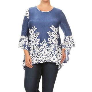 Women's Blue Polyester and Spandex Plus Size Abstract Ruffle Sleeve Top