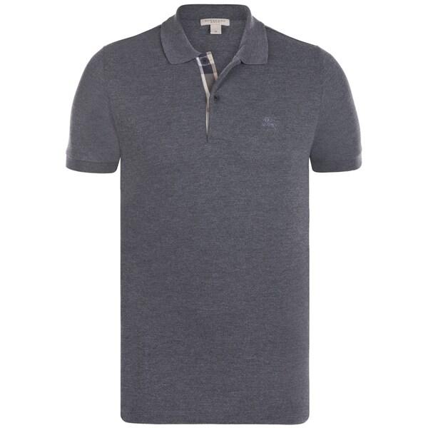 07a420ac Shop Burberry Men's Charcoal Cotton Short-sleeve Polo Shirt - Ships ...