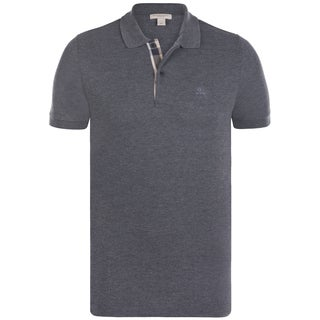 Burberry Men's Charcoal Cotton Short-sleeve Polo Shirt