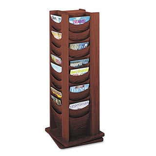Safco Rotary Display, 48 Compartments, 17-3/4w x 17-3/4d x 49-1/2h, Mahogany
