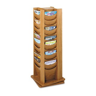 Safco Rotary Display, 48 Compartments, 17-3/4w x 17-3/4d x 49-1/2h, Medium Oak