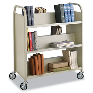 Safco Steel Book Cart, Six-Shelf, 36w x 18-1/2d x 43-1/2h, Sand