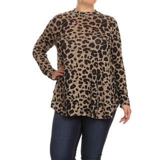 Women's Polyester and Spandex Plus Size Cheetah Print Tunic Top