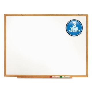 Quartet Classic Melamine Whiteboard Oak Finish Frame