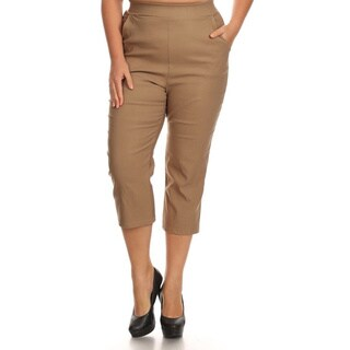 Women's Solid Polyester and Spandex Plus-size Cropped Pants