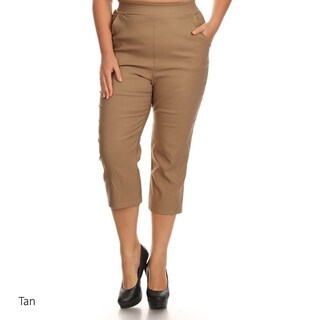 Women's Solid Polyester and Spandex Plus-size Cropped Pants (More options available)