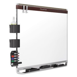 Quartet Prestige 2 Connects DuraMax Magnetic Porcelain Whiteboard Mahogany Frame
