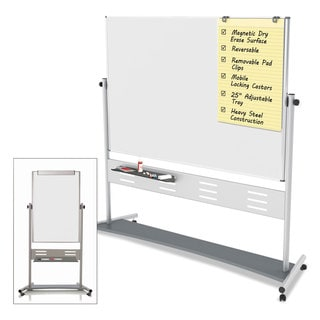 MasterVision Magnetic Reversible Mobile Easel White/Silver