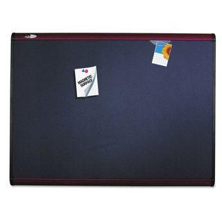 Quartet Prestige Plus Magnetic Fabric Bulletin Board Mahogany Frame