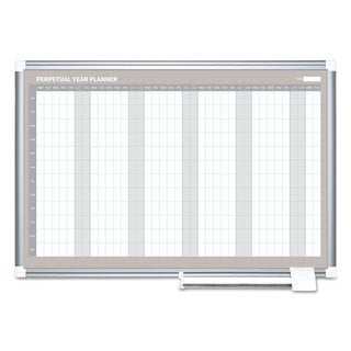 MasterVision Perpetual Year Planner, 48x36, White/Silver,
