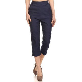 Women's Solid Twill Cropped Pants|https://ak1.ostkcdn.com/images/products/13780305/P20432499.jpg?impolicy=medium