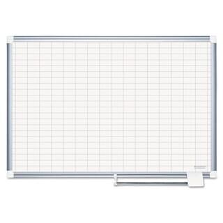 "MasterVision Platinum Plus Dry Erase Planning Board Bd, 1x2"" Grid, 48x36, Aluminum Frame"