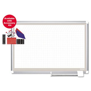 MasterVision Porcelain Dry Erase Planning Board with Accessories, 1x2 Grid, 72x48, Silver