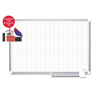 """MasterVision Grid Planning Board with Accessories, 1x2"""" Grid, 48x36, White/Silver"""