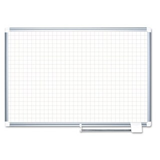"MasterVision Grid Planning Board, 1"" Grid, 72x48, White/Silver"